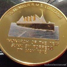 Medallas temáticas: PRECIOSA MONEDA ORO CONMEMORATIVA A LA MEMORIA DEL TRANSATLANTICO LUSITANIA DIFICIL CONSEGUIR. Lote 105646478
