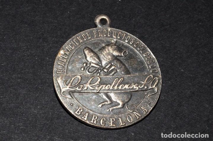 LA RIPOLLENSA S.A. BARCELONA. PRODUCTOS DEL CERDO. MEDALLA PUBLICITARIA. AÑOS 40S (Numismática - Medallería - Temática)