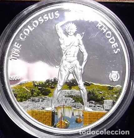 PRECIOSA MONEDA DE PLATA DEL COLOSO DE RODAS DE LA COLECCION DE LAS 7 MARAVILLAS DEL MUNDO (Numismática - Medallería - Temática)