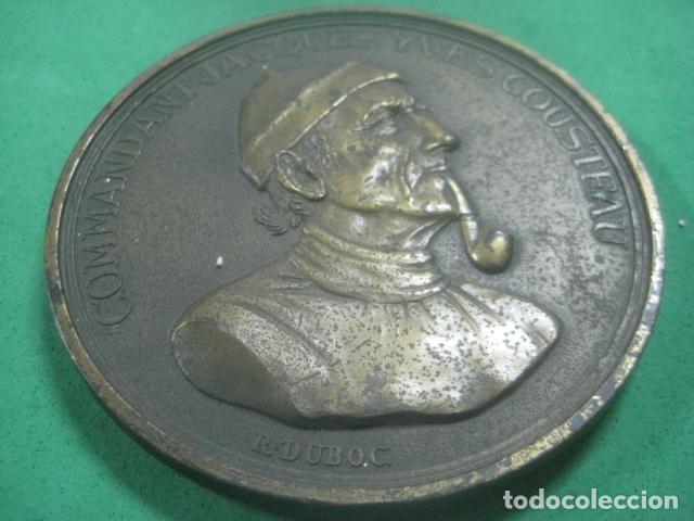Medallas temáticas: ENORME MEDALLA DE BRONCE CINCELADO DE JACQUES YVES COUSTEAU Y SU BARCO EL CALYPSO, 210 GRAMOS - Foto 5 - 62621360