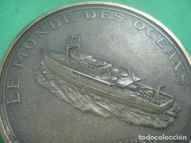 Medallas temáticas: ENORME MEDALLA DE BRONCE CINCELADO DE JACQUES YVES COUSTEAU Y SU BARCO EL CALYPSO, 210 GRAMOS - Foto 8 - 62621360