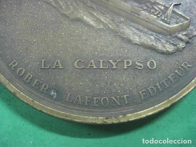 Medallas temáticas: ENORME MEDALLA DE BRONCE CINCELADO DE JACQUES YVES COUSTEAU Y SU BARCO EL CALYPSO, 210 GRAMOS - Foto 9 - 62621360