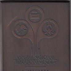 Medallas temáticas: PLACA DE BRONCE I JORNADAS VIZCAYA ANTE EL SIGLO XXI / BILBAO 1984 / 900 GR.. Lote 67679269