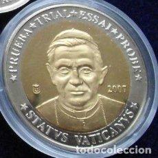 Medallas temáticas: MONEDA PRUEBA TRIAL CONMEMORATIVA DEL PAPA 2007 CIUDAD DEL VATICANO EDICION LIMITADA CALIDAD PROOF. Lote 68720447