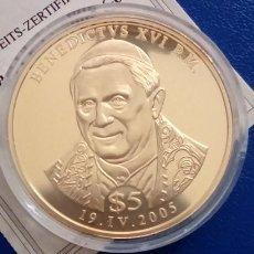 Medallas temáticas: BONITA MONEDA DEL PAPA BENEDICTO XVI LIBERIA AÑO 2005 EDICION LIMITADA + CERTIFICADO. Lote 68722165