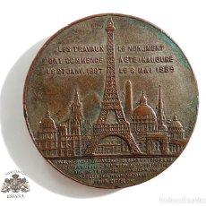 Medallas temáticas: MEDALLA - LES TRAVAUX ONT COMMENCE LE 27 JANV 1887 - LE MONUMENT A ETE INAUGURE 6 MAI 1889 - 4,4 CM. Lote 71500827