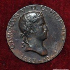 Medallas temáticas: MEDALLA EN BRONCE DE CARLOS V. PRIMERAS GUERRAS CARLISTAS. LEY SÁLICA 1713. AÑO 1843. ORIGINAL. Lote 71618283