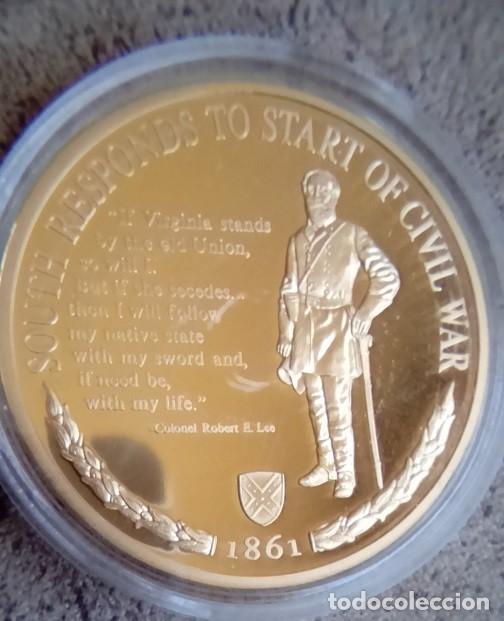 MONEDA CONMEMORATIVA AL 150 ANIVERSARIO DE LA GUERRA CIVIL EN ESTADOS UNIDOS CORONEL ROBERT E.LEE (Numismática - Medallería - Temática)