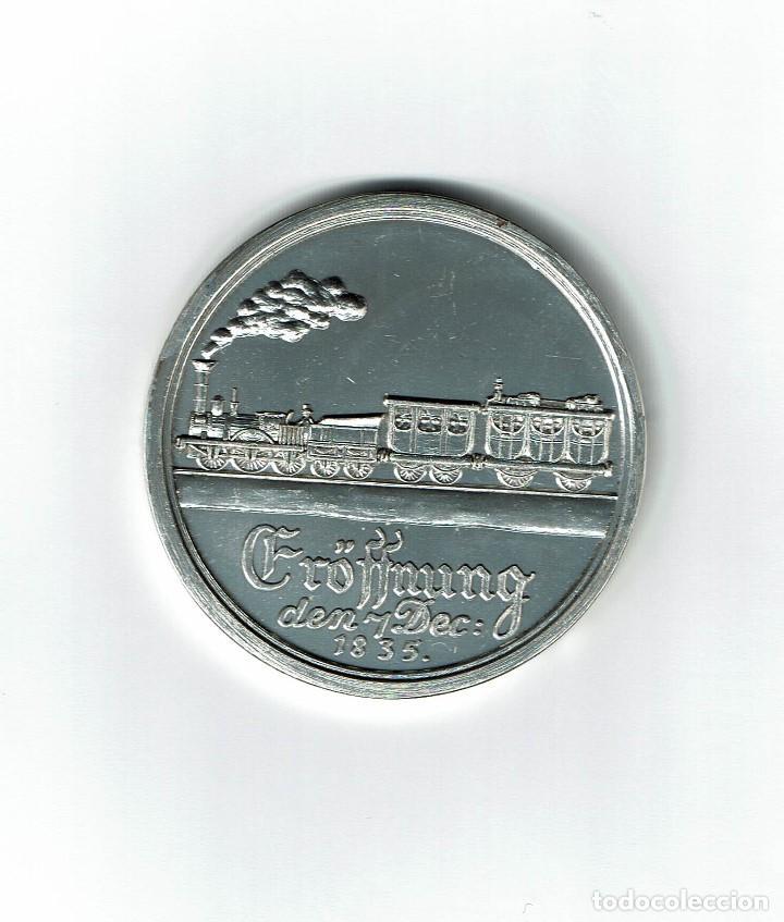 MEDALLA CONMEMORATIVA 1979 1º TREN ALEMANIA DICIEMBRE 1835 NURENBERG A FURTH FERROCARRIL (Numismática - Medallería - Temática)