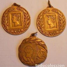 Medallas temáticas: LOTE DE 3 MEDALLAS - EXPOSICIONES FILATÉLICAS DE EIBAR Y VERGARA - 1973, 1975 Y 1977. Lote 73031951