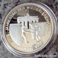 Medallas temáticas: PRECIOSA MONEDA PLATA DEL 5 ANIVERSARIO DE LA REUNIFICACION DE ALEMANIA OCTUBRE DE 1995. Lote 74233007