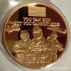 Medallas temáticas: BONITA MONEDA CONMEMORATIVA AL DIA QUE LAS FUERZAS ESPECIALES DE U.S.A ABATIERON A OSAMA BIN LADEN. Lote 84920315