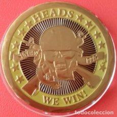 Medallas temáticas: CURIOSA MONEDA TIPO MILITAR DE ESTADOS UNIDOS DEL JUEGO CARA O CRUZ AQUI CARA GANA CRUZ PIERDE. Lote 74678511