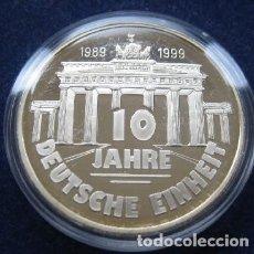 Medallas temáticas: BONITA MONEDA PLATA 10 AÑOS UNIDAD ALEMANA 1989-1999 50 AÑOS DE LA BRD ALEMANIA FEDERAL. Lote 76067163