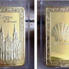 Medallas temáticas: PRECIOSO LINGOTE CATEDRAL DE SANTIAGO EN RELIEVE. BAÑO DE ORO 24 KT. EDICION LIMITADA. AÑO XACOBEO. Lote 91563688