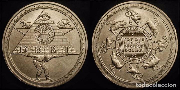 MONEDA PIRAMIDE DE LA DEUDA, DANIEL CARR, USA, EDICION LIMITADA 107 PIEZAS 1 OZ PLATA 999 (Numismática - Medallería - Temática)