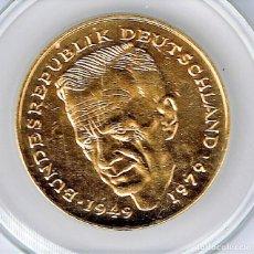 Medallas temáticas: ALEMANIA 2 MARCOS 1992 G - DORADA MEDALLA TOKEN ENCAPSULADA - DIFICIL. Lote 82078328