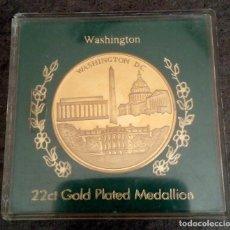 Medallas temáticas: BONITA MONEDA DE WASHINGTON DC EN ESTADOS UNIDOS CASA BLANCA Y SELLO PRESIDENCIAL CHAPADA EN ORO. Lote 85202016