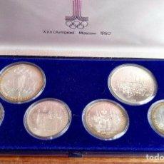 Thematic medals - Estuche 6 Monedas Conmemorativas Juegos Olímpicos Moscu 1980 Plata - 88351396