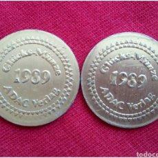 Medallas temáticas: LOTE 2 MONEDAS COMERCIALES FICHA TOKEN. Lote 90965123