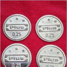 Medallas temáticas: LOTE 4 MONEDAS COMERCIALES FICHA TOKEN PLUS. Lote 91231715