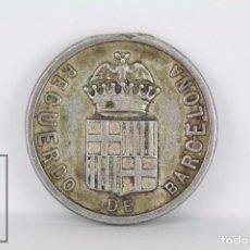 Medallas temáticas: ANTIGUA MEDALLA / FICHA RECUERDO DE BARCELONA. EXPOSICIÓN UNIVERSAL 1888 - DIÁMETRO 2 CM. Lote 94387826