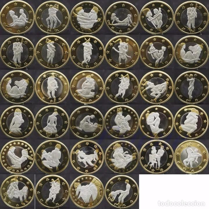 COLECCION 34 MONEDAS DE 6 EUROS CONMEMORATIVAS POSTURAS KAMASUTRA - KAMA SUTRA - BAÑO ORO (1) (Numismática - Medallería - Temática)