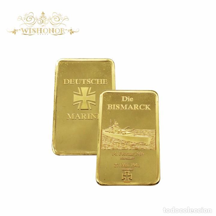 LINGOTE ORO 24K DIE BISMARCK 1939 - 1941 / MARINA ALEMANA CON CERTIFICADO AUTENTICIDAD (Numismática - Medallería - Temática)