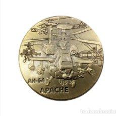 Medallas temáticas: MONEDA CONMEMORATIVA HELICOPTERO APACHE AM-64 - EJERCITO ESTADOS UNIDOS (1). Lote 95443759