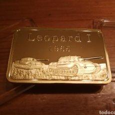 Medallas temáticas: ALEMANIA LINGOTE BAÑADO EN ORO PURO DE 24K LEOPARD 1 EDICIÓN BLINDAJE 1965. Lote 135683871