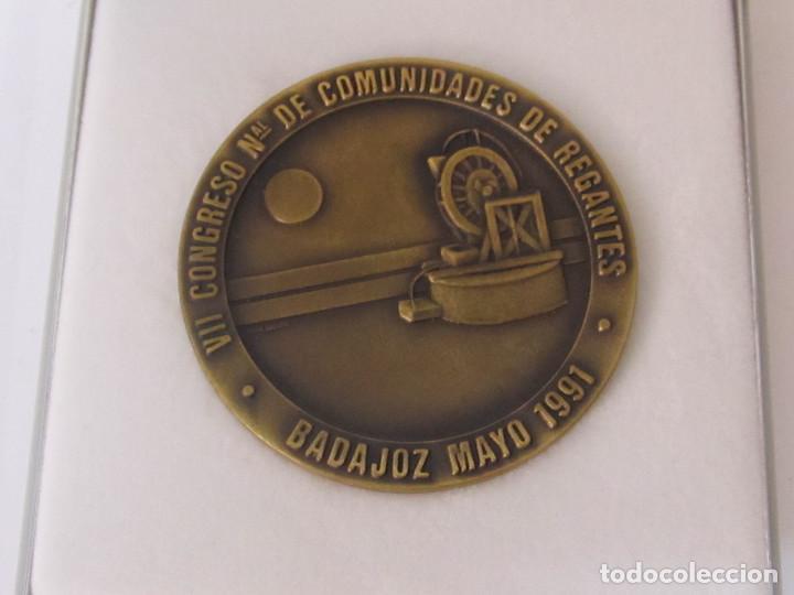 MEDALLA DE BRONCE - VII CONGRESO COMUNIDAD DE REGANTES, BADAJOZ 1991 (Numismática - Medallería - Temática)