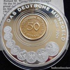 Medallas temáticas: MONEDA CONMEMORATIVA A LA MONEDA ALEMANA DE 1950 A 2001 EDICION MUY LIMITADA Y CERTIFICADA. Lote 97375191