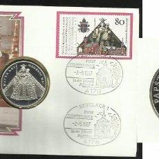 Medallas temáticas: ALEMANIA 1987 SOBRE FILATELICO NUMISMATICO CONM. VISITA DEL PAPA JUAN PABLO II- MEDALLA PLATA . Lote 99484627