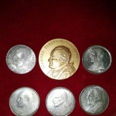 Medallas temáticas: LOTE 6 MONEDAS MEDALLAS DEL VATICANO JUAN PABLO 2 1980. Lote 101012683