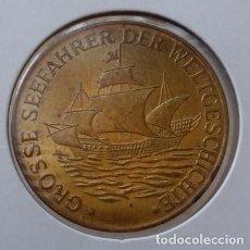 Medallas temáticas: CURIOSA MONEDA CONMEMORATIVA AL DESCUBRIDOR DE AMERICA CRISTOBAL COLON 1451 - 1506. Lote 105582227