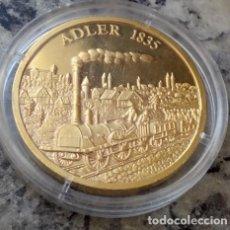 Medallas temáticas: BONITA MONEDA ORO CONMEMORATIVA AL FERROCARRIL ADLER 1835 QUE FUE LA PRIMERA LOCOMOTORA A VAPOR. Lote 106619879