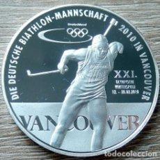 Medallas temáticas: BONITA MONEDA PLATA EQUIPO ALEMAN DE BIATHLON VANCOUVER 2010 JUEGOS OLIMPICOS DE INVIERNO. Lote 107291123