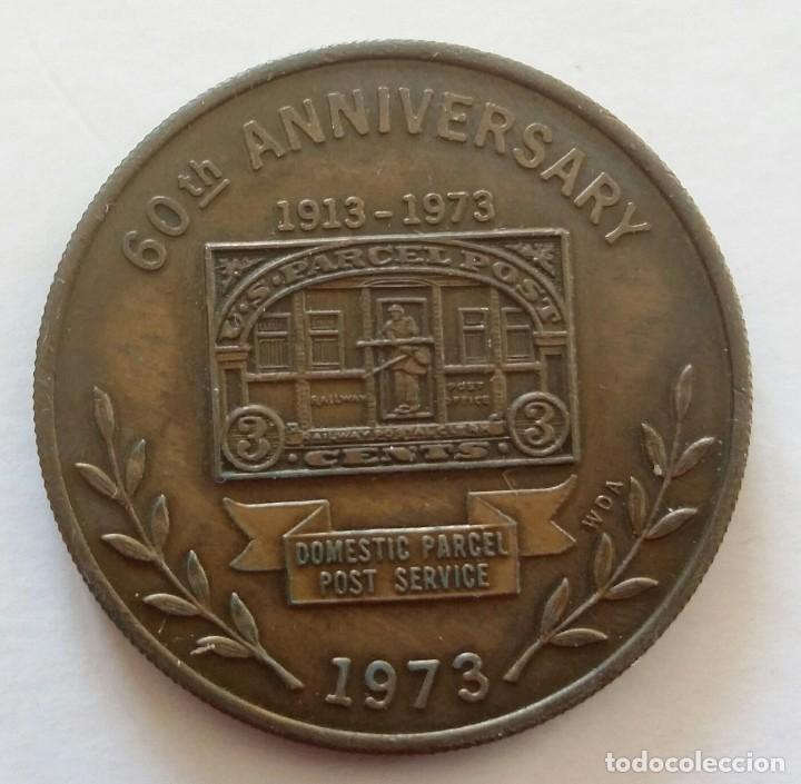 MEDALLA CONMEMORATIVA CORREO POSTAL 1973 US PARCEL POST 60 AÑOS SERVICIO POSTAL DE U.S.A. (Numismática - Medallería - Temática)