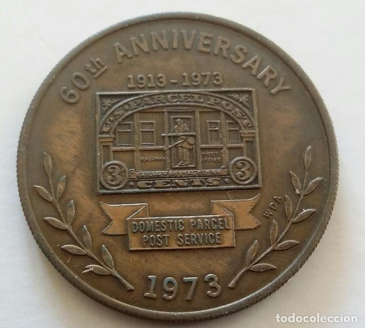 Medallas temáticas: Medalla Conmemorativa CORREO POSTAL 1973 Us Parcel Post 60 AÑOS SERVICIO POSTAL DE U.S.A. - Foto 3 - 108822851