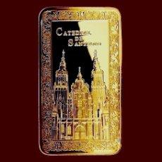 Medallas temáticas: LINGOTE CATEDRAL DE SANTIAGO EN RELIEVE. BAÑO DE ORO 24 KT. EDICION LIMITADA. AÑO XACOBEO. Lote 109253068