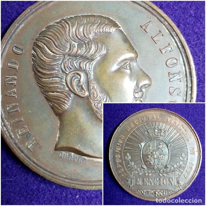 ANTIGUA MEDALLA REINANDO ALFONSO XII. 1877. MENCION. EXPOSICION NACIONAL VINICOLA. (Numismática - Medallería - Temática)