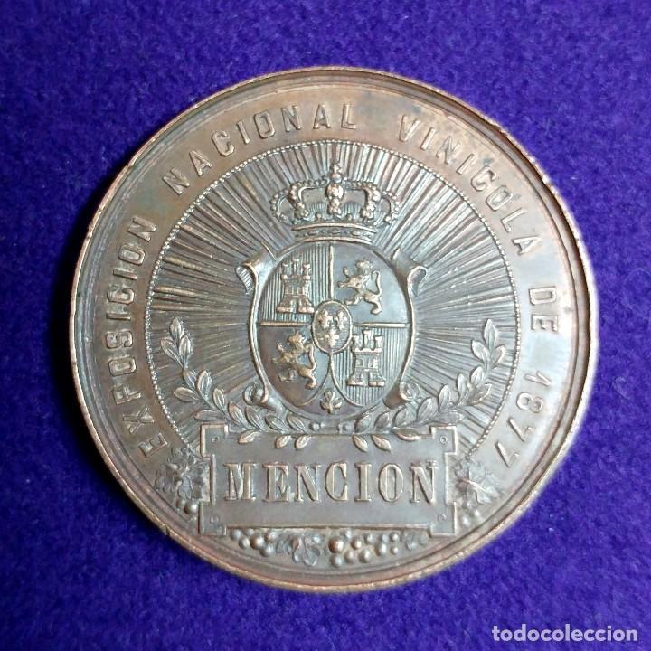 Medallas temáticas: ANTIGUA MEDALLA REINANDO ALFONSO XII. 1877. MENCION. EXPOSICION NACIONAL VINICOLA. - Foto 3 - 109467507