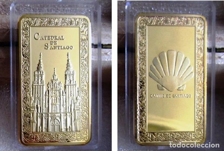 Medallas temáticas: LINGOTE CATEDRAL DE SANTIAGO EN RELIEVE. BAÑO DE ORO 24 KT. EDICION AÑO XACOBEO - Foto 2 - 109525570