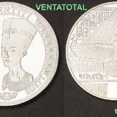 Medallas temáticas: MEDALLA PLATA TIPO MONEDA HOMENAJE A NEFERTITI REINA DEL ANTIGUO EGIPTO - PESA 28,20 GRA - Nº1. Lote 110421995