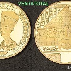 Medallas temáticas: MEDALLA ORO TIPO MONEDA HOMENAJE A NEFERTITI REINA DEL ANTIGUO EGIPTO - PESA 28,23 GRA - Nº6. Lote 116151023