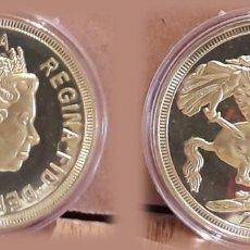 Medallas temáticas: SAN JORGE / ELIZABETH II DEI GRA REGINA FID DEF / MEDALLA CONMEMORATIVA 2015 / 40 MM - 33 GR.. Lote 209138418