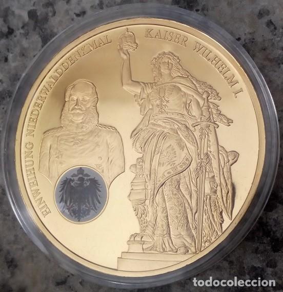 BONITA MONEDA HISTORIA DE ALEMANIA CON EL MONUMENTO DE NIEDERWALD Y EL EMPERADOR GUILLERMO I (Numismática - Medallería - Temática)