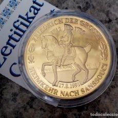 Medallas temáticas: BONITA MONEDA DE FEDERICO EL GRANDE 1712 - 1786 LA VUELTA AL PALACIO DE SANSSOUCI CON CERTIFICADO. Lote 112865279