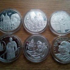 Medallas temáticas: SOBERANA ORDEN DE MALTA. 6 MONEDAS ONZA DE PLATA DE 100 LIRAS DE 2006. PAPA JUAN PABLO II. Lote 113938935