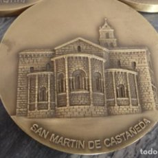 Medallas temáticas: SAN MARTIN DE CASTAÑEDA,BRONCE, 80 MM. 5 MM GRUESA. 216 GRS.LOTERIA 1996,PUBLICT.TRASERA. Lote 115105823